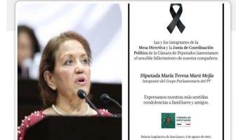 Por Covid-19, muere la diputada petista María Teresa Marú Mejía