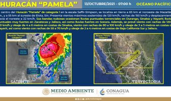 Impacta Pamela a Sinaloa como huracán categoría 1